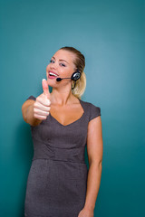 female customer service representative  with thumb up
