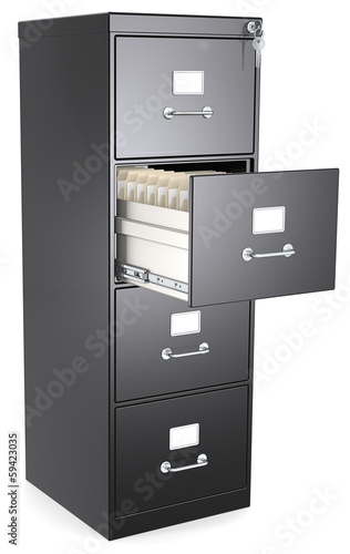 Black File Cabinet. Open drawer with files. Lock and key.