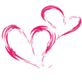 Fototapety Zwei Herzen, freigestellt, Tuschezeichnung