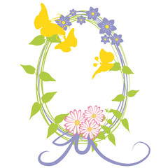 dekoratives Osterei mit Blumen und Schmetterlingen