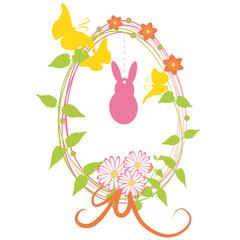 Osterei mit Osterhase,Blumendekoration und Schmetterlingen