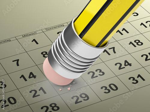 Radierer über Kalenderblatt