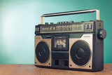 Fototapety Retro ghetto blaster cassette tape recorder on table