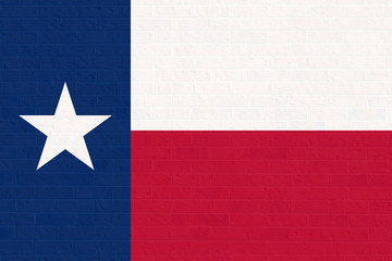 Texas state flag on brick wall