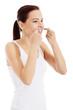 Beautiful hygiene woman with dental floss.