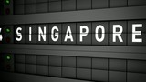 Old airport billboard with city name Singapore