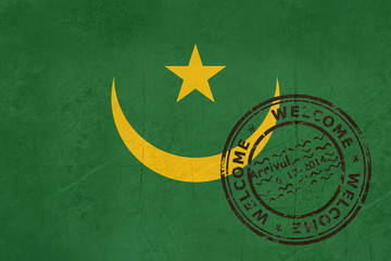 Welcome to Mauritania flag with passport stamp
