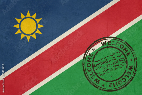 Welcome to Namibia flag with passport stamp