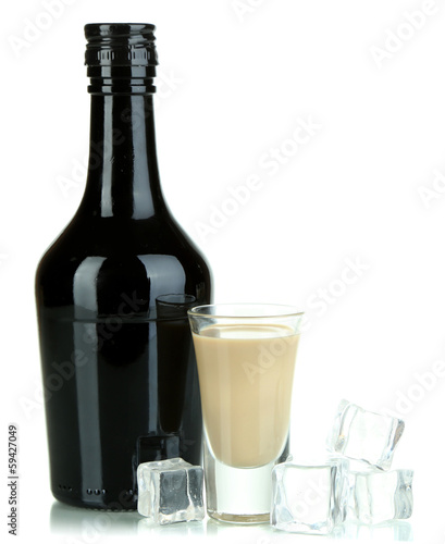 Baileys liqueur in bottle and glass isolated on white - 59427049