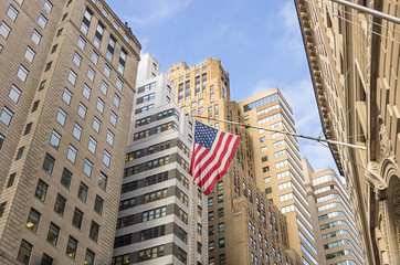 American flag at Wall Street,New York