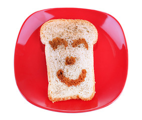 Funny toast, isolated on white