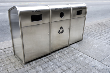 Recycling trash bins on the street