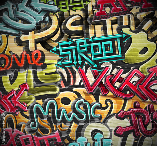 Foto Spatwand Graffiti Graffiti background