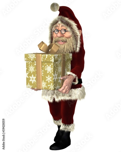Santa Claus Carrying a Christmas Present