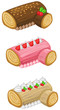 Log cake for Christmas vector set
