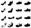 Set of silhouette shoes icon