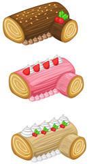 Log cake for Christmas vector set