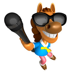 Wear sunglasses 3D Horse character point a microphone. 3D Animal