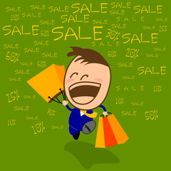 Cute character businessman is happy to shopping