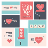 Set of valentine cards, vector design editable.