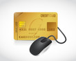 credit card connected to a mouse. illustration