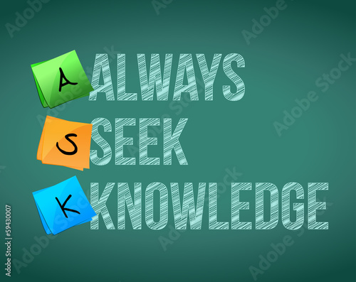 always seek knowledge message illustration