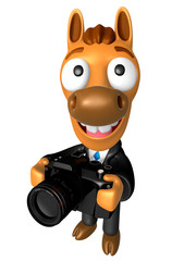 3D Horse character to shoot the Big Camera toward the Left. 3D A