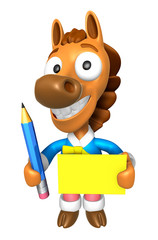 3D Horse Mascot hand is holding a Yellow paper and Pencil. 3D An