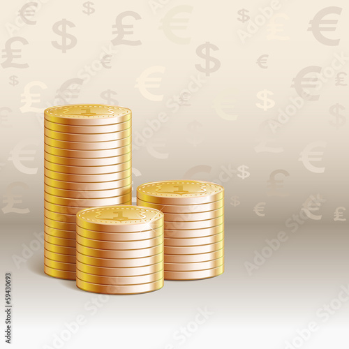 Pile of gold coins, currency symbol