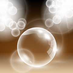Shiny brown vector blank glass bubble with light flares