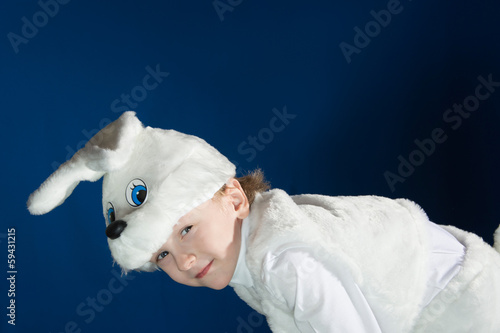 Boy dressed up as a new year costume of white Bunny