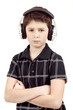 Portrait of a young boy listening to music on head
