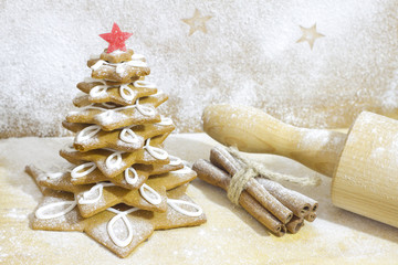 Gingerbread tree in the kitchen christmas baking concept