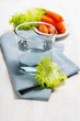 Healthy food - water, carrot and lettuce