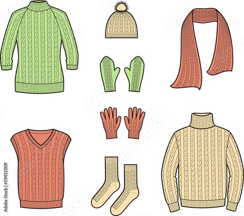 Vector illustration of winter knitwear