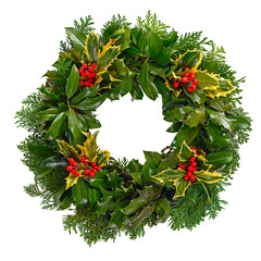 Christmas holly wreath isolated