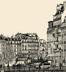 view of Ile Saint Louis in Paris
