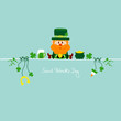 Saint Patrick´s Day Leprechaun & Symbols Retro