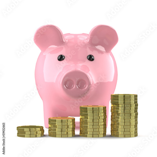 Pink piggy bank has stacks of gold coins