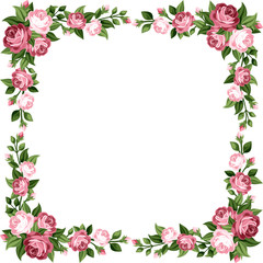 Vintage frame with pink roses. Vector illustration.