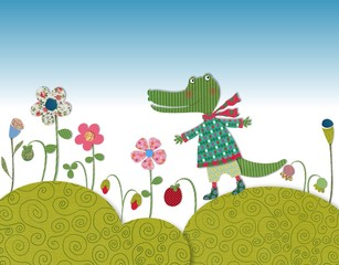 Little crocodile walking on flowering meadow