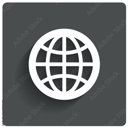 Globe earth icon. Travel symbol. Vector.