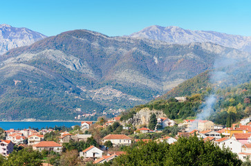 Tivat city. Montenegro. Winter