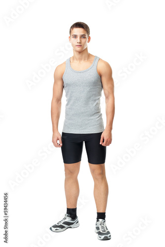 Portrait of young muscular athlete man