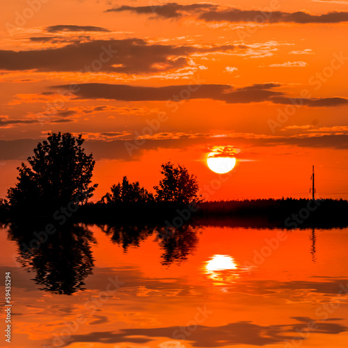 sunset over a lake background