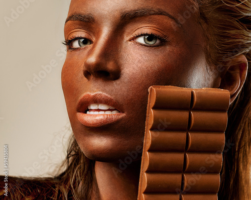 passionate woman with chocolate