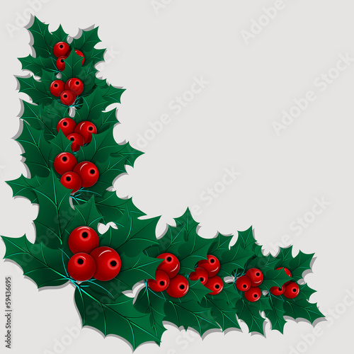 Christmas corner element with holly leaves and berries