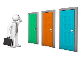 Businessman Three Doors
