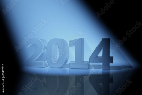 2014 inscription and volumetric light, 3D images