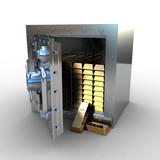 Opened safe with gold ingot, 3d